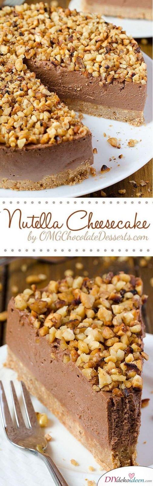 DIY einfache Nutella-Käsetorte, Cheesecake mit Nutella