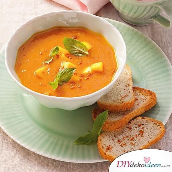 Leckere Rezepte für deinen Abnehmplan, Tomaten-Mango suppe, Kalorienarme Suppe