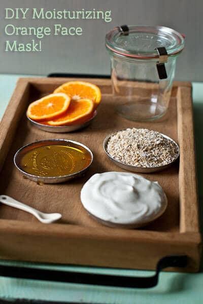 Zutaten für DIY Orangen-Maske