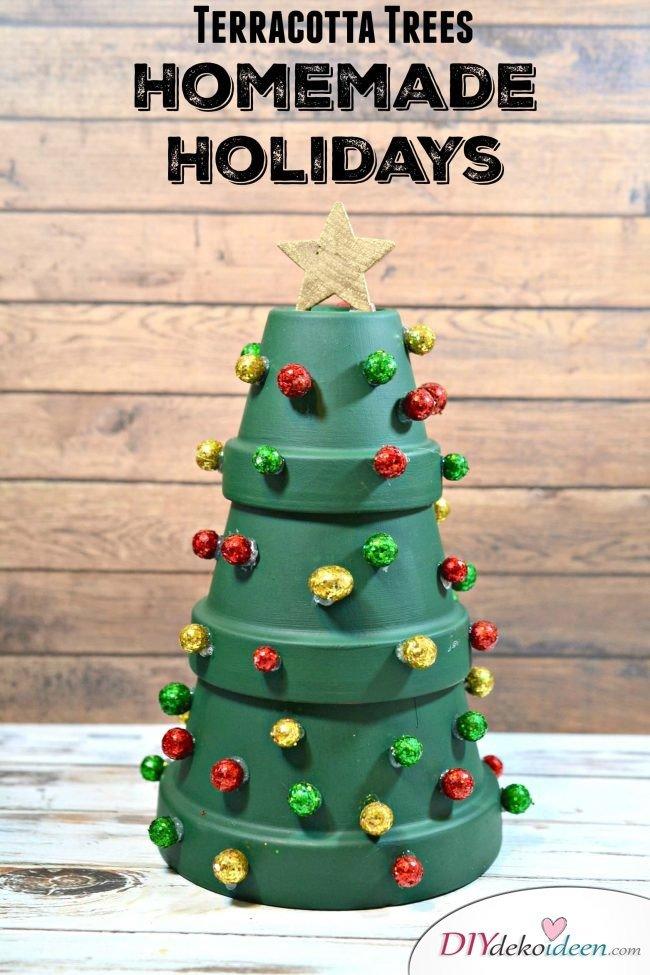 1DIY Weihnachtsbaum-Bastelideen, Weihnachtsdeko mit Blumentöpfen
