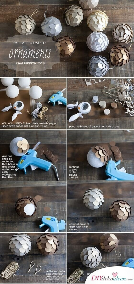 Weihnachtsdeko zum Selbermachen, Weihnachtsbaumkugel mit Metalloptik, DIY Weihnachtsdeko Bastelideen