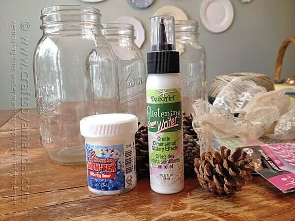 Weihnachtsdeko zum Selbermachen, Material für Kerzengläser mit Schneespray, DIY Weihnachtsdeko Bastelideen