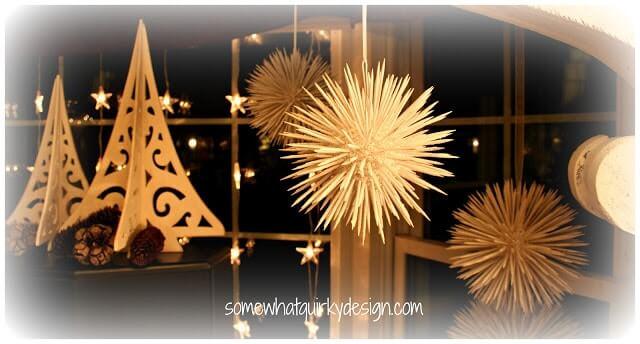 Weihnachtsdeko zum Selbermachen, Schneeball Dekoration aus Holzstäbchen, DIY Weihnachtsdeko Bastelideen
