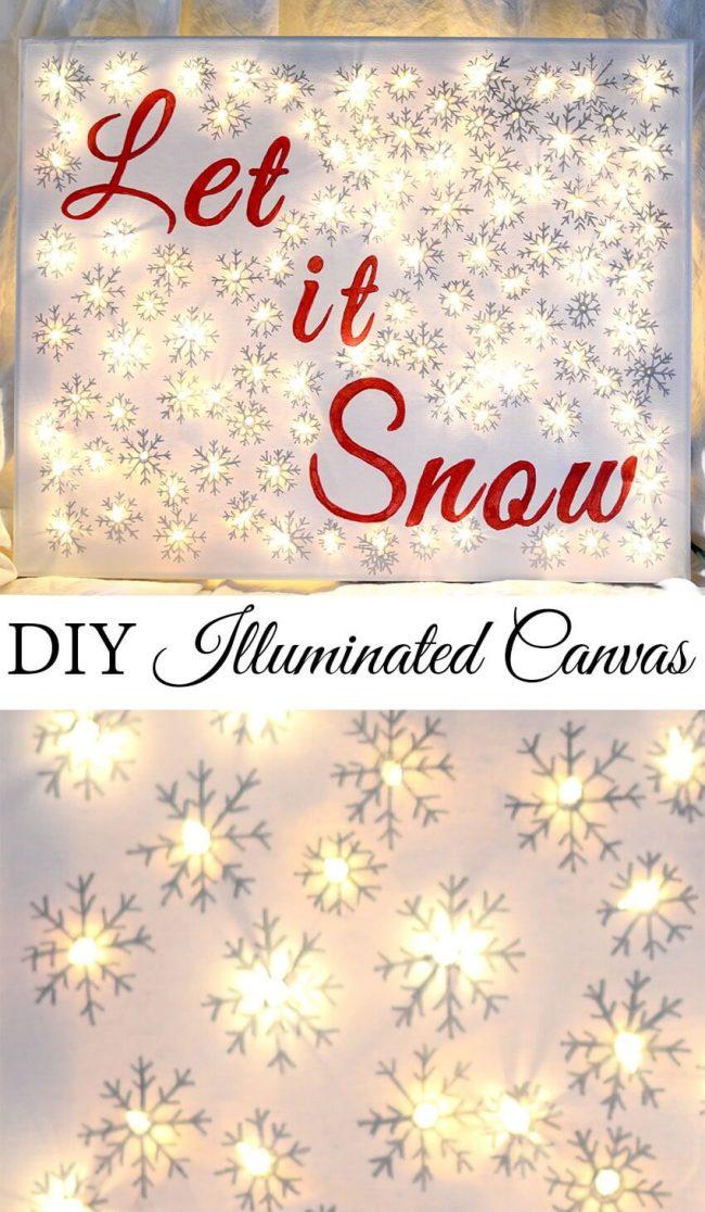 Weihnachtsdeko zum Selbermachen, Leinwandbild mit Lichterkette und Schneeflocken, DIY Weihnachtsdeko Bastelideen