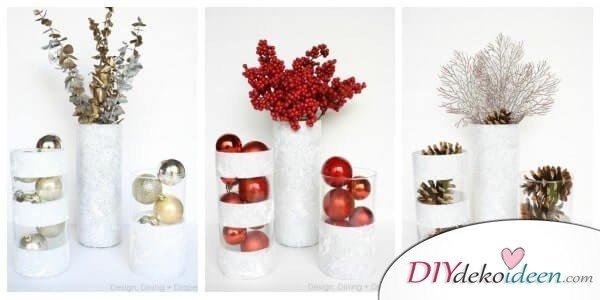 DIY Weihnachtsdeko Bastelideen, Rote, Goldene, Weiße Vase Mit Schneespray