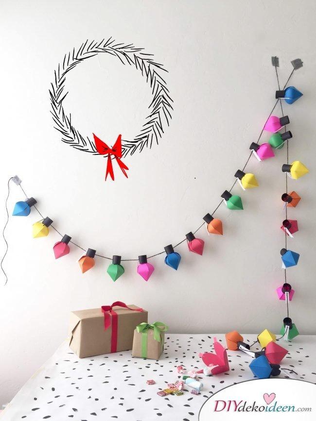 Adventskalender selber basteln, kreative Lichterkette mit Überraschungen