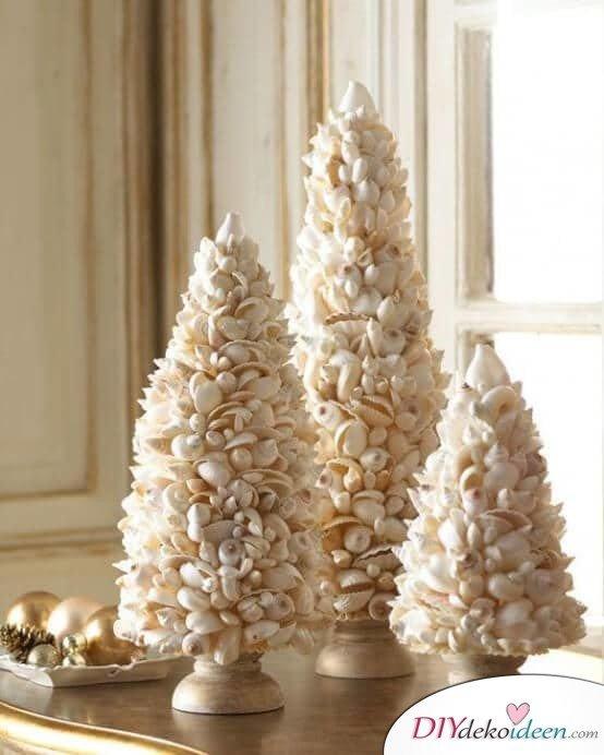 DIY Weihnachtsbaum-Bastelideen, mit Muscheln basteln zu Weihnachten