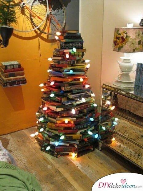 DIY Weihnachtsbaum-Bastelideen, Weihnachtsbaum aus Bücher