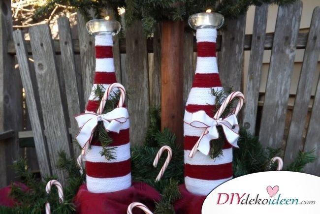 DIY Weihnachtsdeko Bastelideen mit Weinflaschen, Zuckerstangen-Look, Winter-Garten-Deko