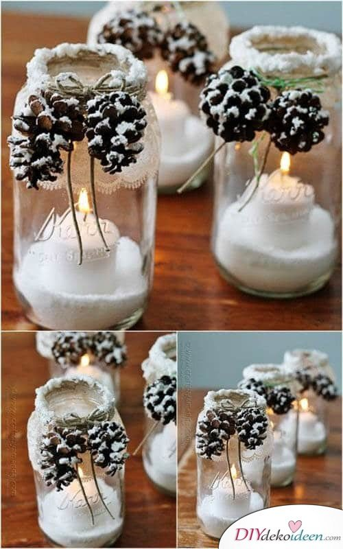DIY table decor ideas for christmas, disposable glasses with toothpicks and artificial snow