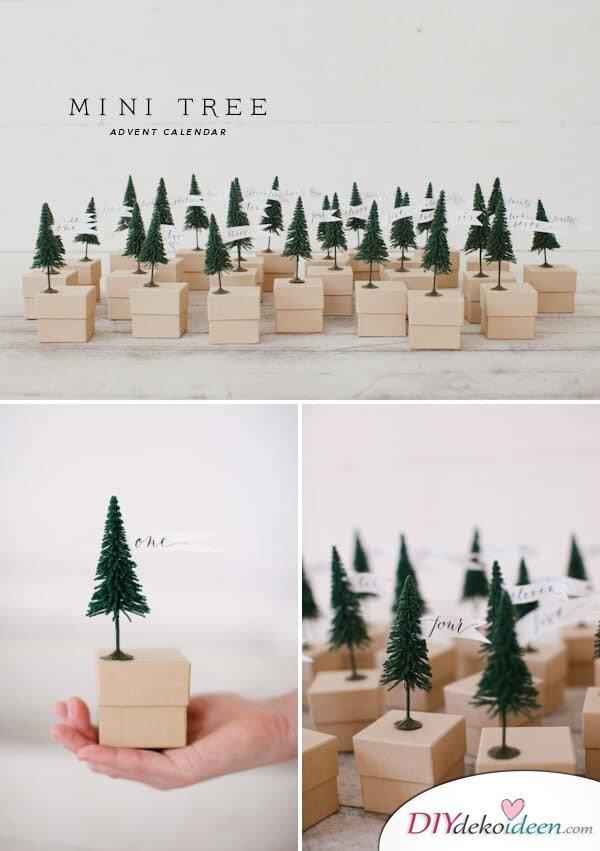 Adventskalender selber basteln, Kleine Tannenbäume an Schmuckkisten kleben