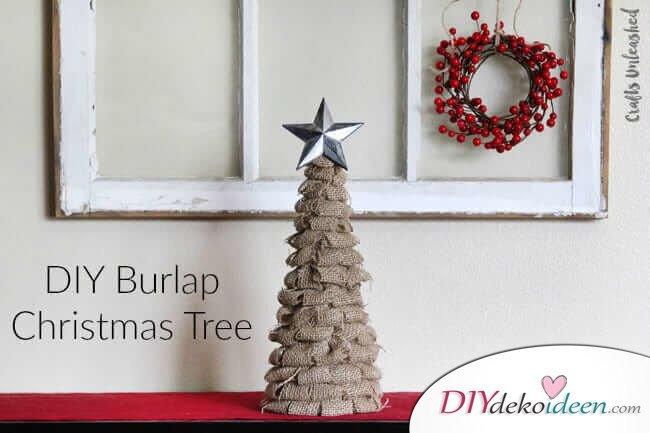 DIY Weihnachtsbaum-Bastelideen, Sackleinen Weihnachtsdeko