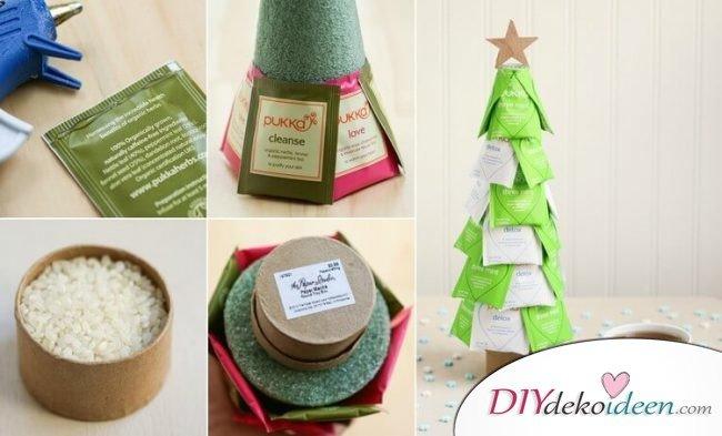 diy geschenke weihnachten teebeutel weihnachtsbaum basteln diydekoideen diy. Black Bedroom Furniture Sets. Home Design Ideas