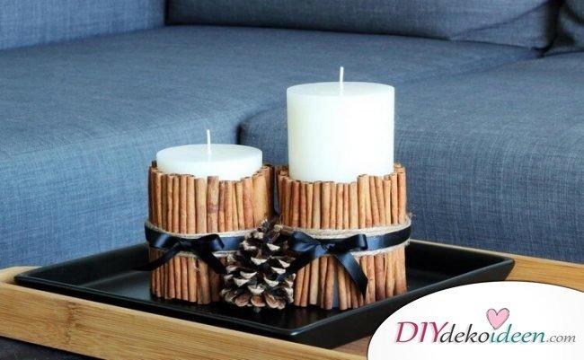 Bastelideen für DIY Geschenke zu Weihnachten, Kerzen mit Zimtstangen selber machen