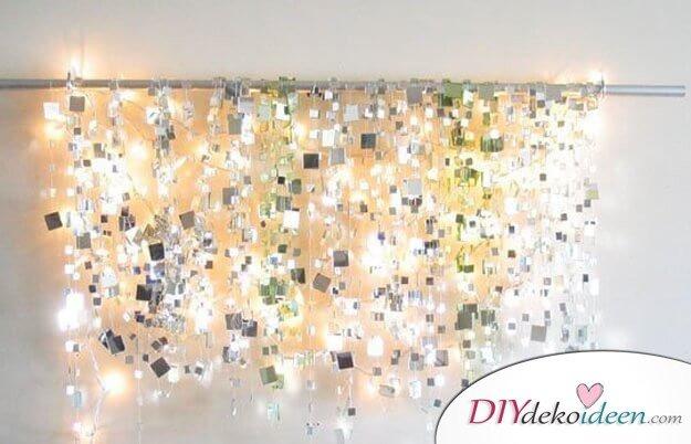 Spiegeleffekt-Lichterketten-Dekoration, spiegelnde Deko mit Beleuchtung