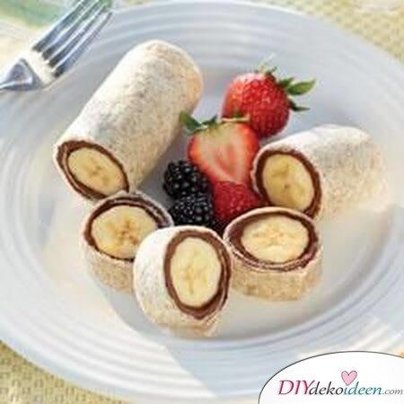 DIY Nutella-Rolle zum Frühstück mit Obst- Bananen-Rolle