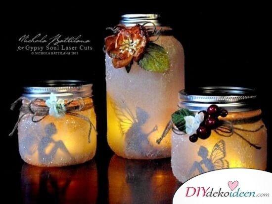 DIY Deko Ideen mit Kerzen, Windlicht selber machen, DIY Dekoration, Kerzenglas selber machen