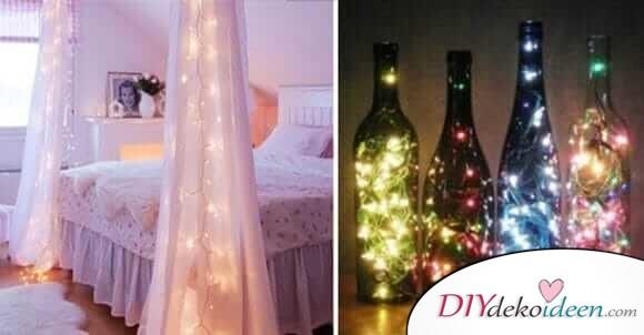 21 tolle DIY Wohndeko-Ideen mit Lichterketten