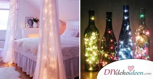 21 tolle und stimmungsvolle diy wohndeko ideen mit lichterketten. Black Bedroom Furniture Sets. Home Design Ideas
