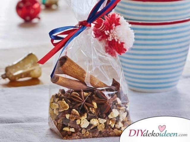 Bastelideen für DIY Geschenke zu Weihnachten, Glühwein Gewürzmischung selber machen, Zimt, Gewürznelke, Weihnachtspunch Rezept