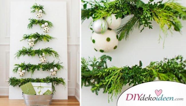 DIY Weihnachtsbaum-Bastelideen, Leinwand Deko zu Weihnachten