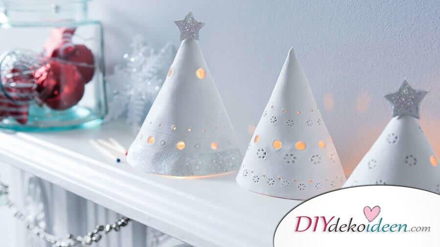 Bastelideen für DIY Geschenke zu Weihnachten, Leuchte aus Ton basteln, Räucherkerzen Hälter