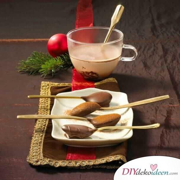 Bastelideen für DIY Geschenke zu Weihnachten, Schokolöffel für heiße Schokolade