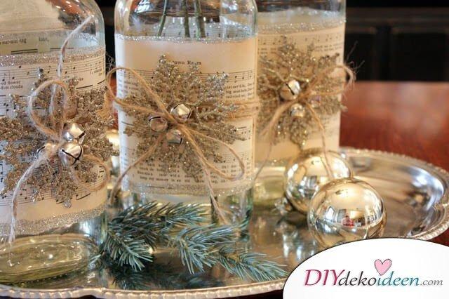 DIY Weihnachtsdeko Bastelideen mit Weinflaschen, Basteln mit Notenpapier