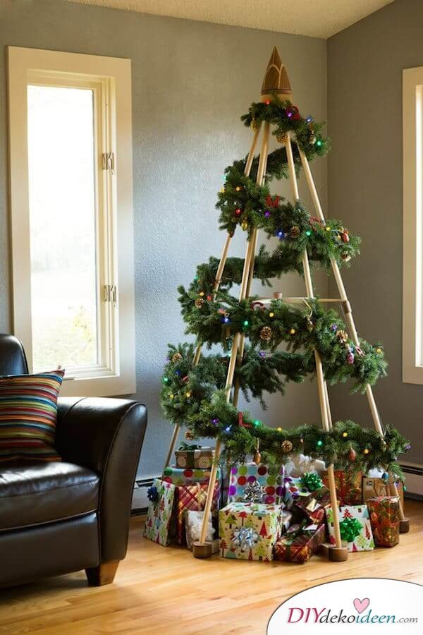 DIY Weihnachtsbaum-Bastelideen, Girlande als Weihnachtsbaum