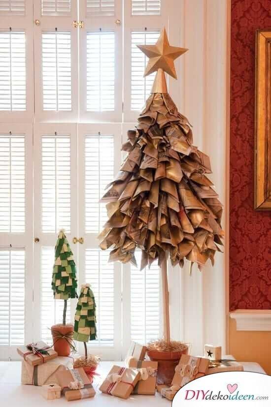 DIY Weihnachtsbaum-Bastelideen, Weihnachtsdeko aus Zeitungspapier