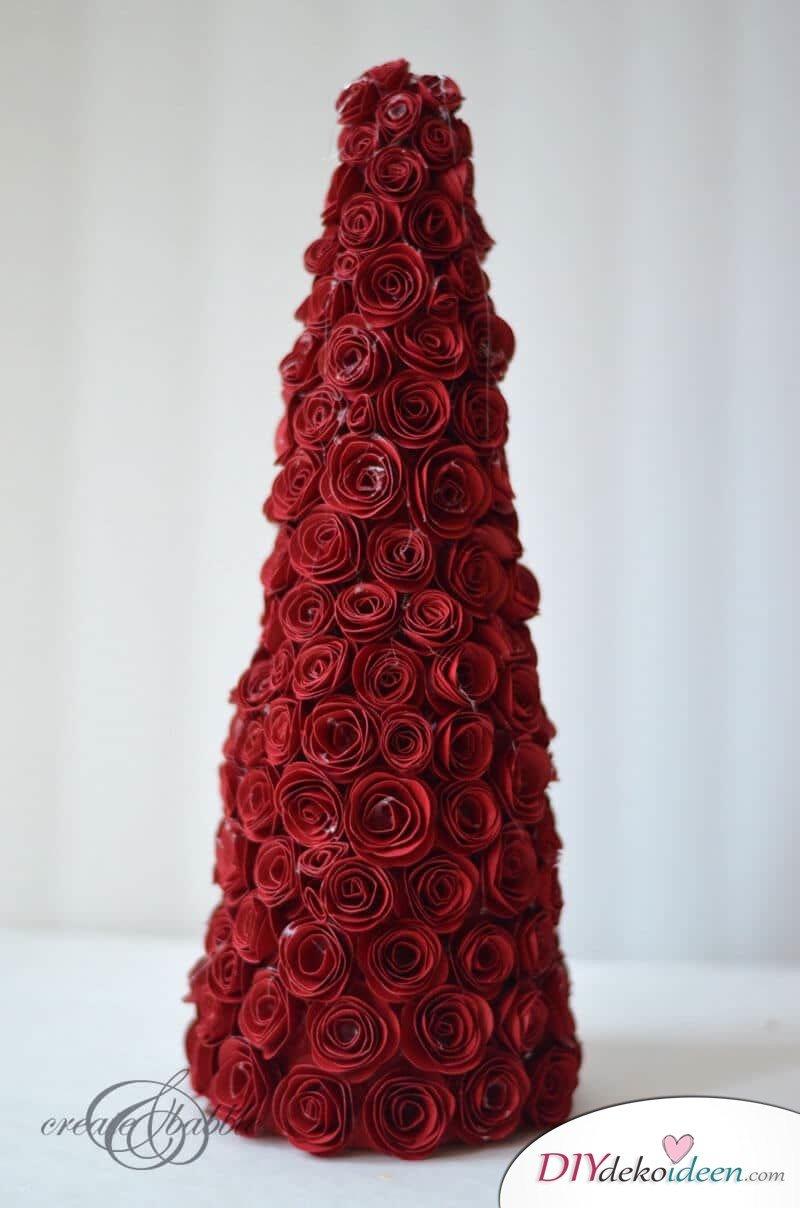 DIY Weihnachtsbaum-Bastelideen, Rosen aus Papier basteln