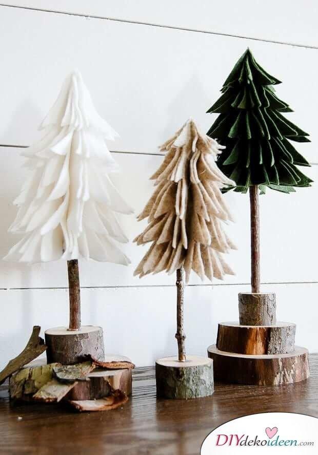 DIY Weihnachtsbaum-Bastelideen, rustikale Weihnachtsdeko zu Weihnachten, Bäume aus Filz