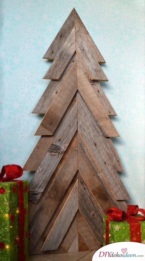 DIY Weihnachtsbaum, Holzplatten basteln zu Weihnachten