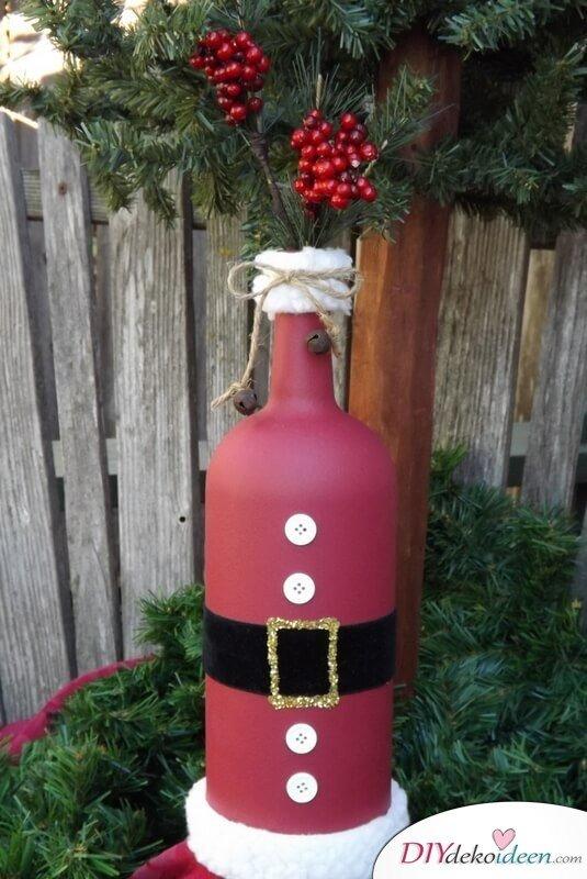 DIY Weihnachtsdeko Bastelideen mit Weinflaschen, Nikolaus basteln mit Kindern, Gartendeko-Winter