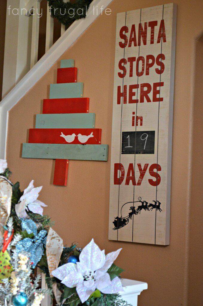 Weihnachten Countdown mit Tafelfarbe, Winterdeko aus Europalette, DIY Bastelideen zu Weihnachten mit einer Europalette