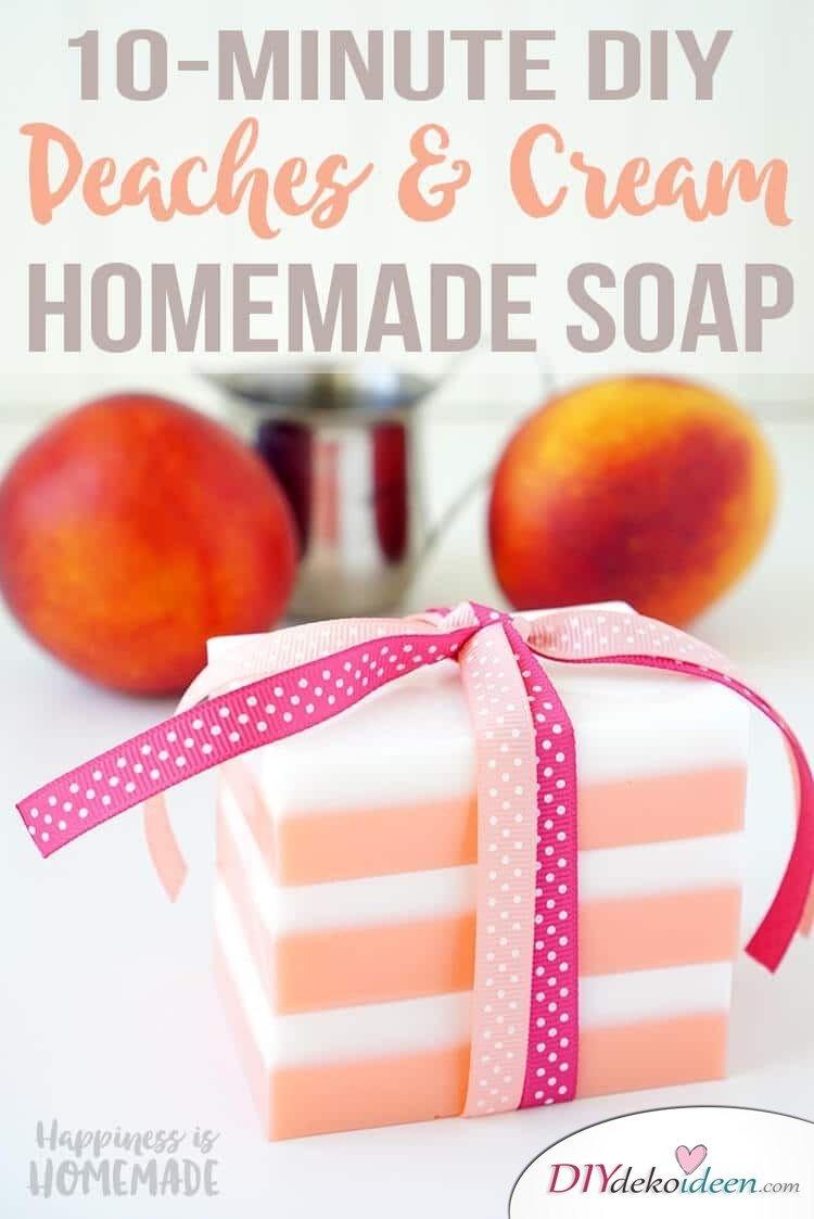 DIY Naturkosmetik Seife selber machen, Pfirsich-CremeSeife, duftende Seife für trockene Haut