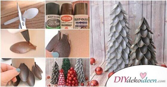 DIY Weihnachtsbaum-Deko aus Plastiklöffeln