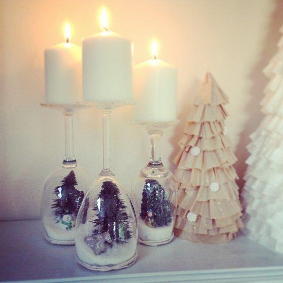 Weihnachtsdeko zum Selbermachen, Kerzenhälter aus Weingläser, DIY Weihnachtsdeko Bastelideen