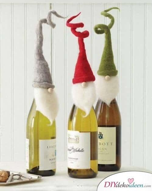DIY Weihnachtsdeko Bastelideen mit Weinflaschen, Wein verschenken, dekorieren
