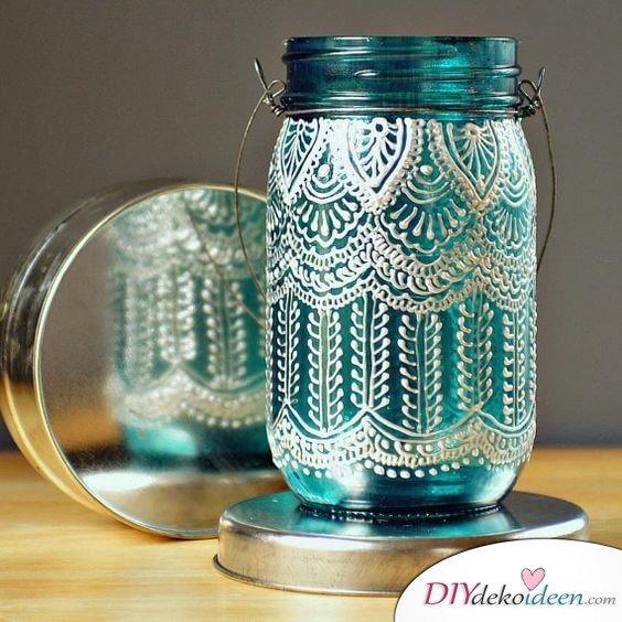 Deko-Kerzenhalter selber machen, Marokko Style DIY, Einzweckgläser und Fensterfarbe