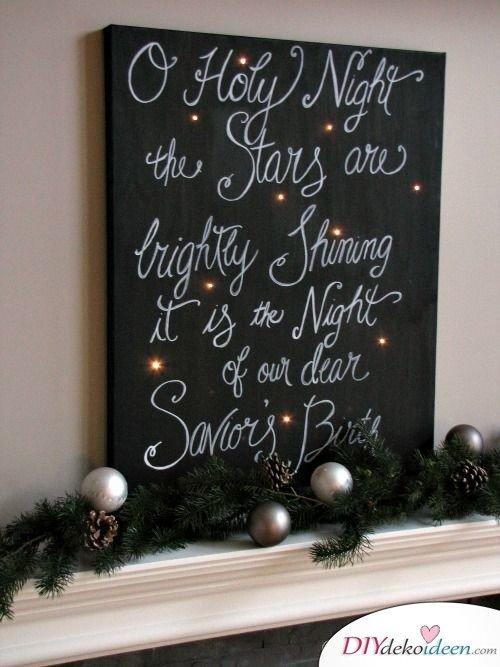 Weihnachtsdeko Ideen mit Lichterketten-Schwarzes-silbernes Leinwandbild