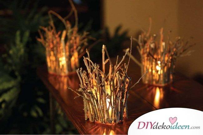 Deko-Kerzenhalter selber machen, Kerzenglas mit Ästen, Holz Dekoidee