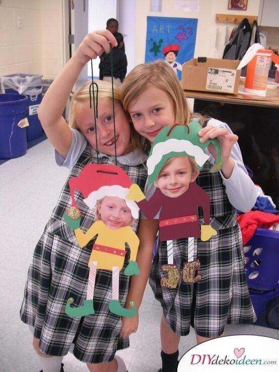 DIY Bastelideen für Weihnachtsbasteln mit Kindern, Geschenke selber machen, Weihnachts-Elfen selber machen mit Foto