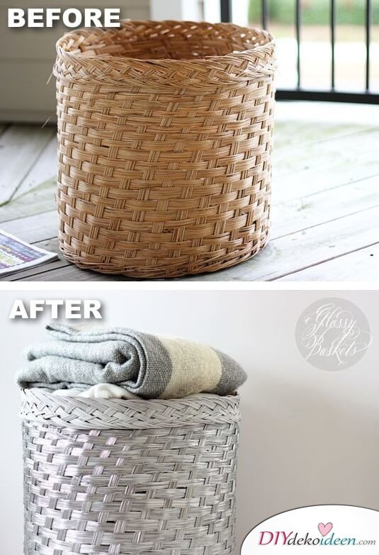 DIY Wohndeko-Ideen mit Spraydosen, Korb besprühen, Dekoration selber machen
