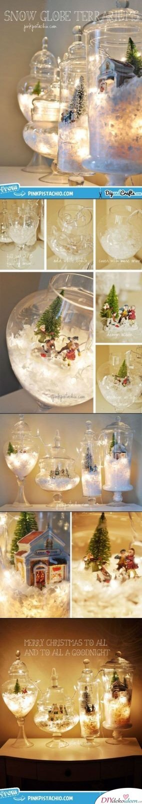 Weihnachtsdeko Ideen mit Lichterketten-Glasvasen mit Kunstschnee und einer Winterszene