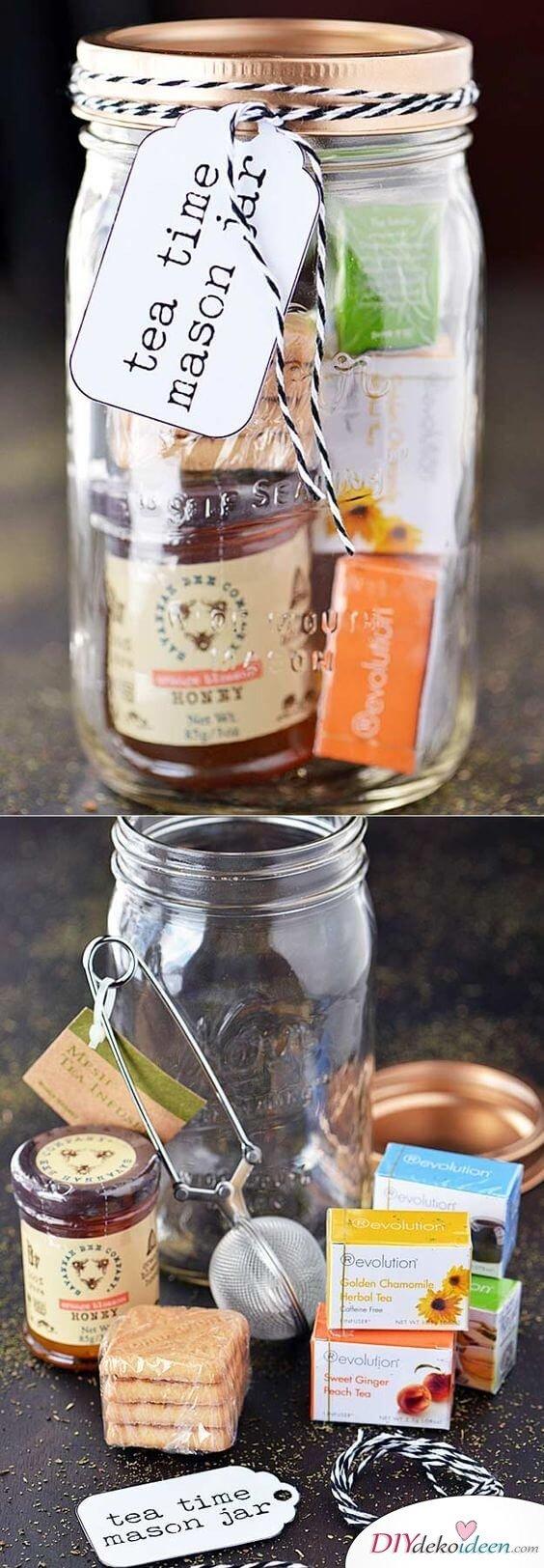 Weckgläser DIY für Weihnachtsgeschenkideen-Tee verschenken