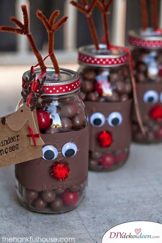 Weckgläser DIY für Weihnachtsgeschenkideen-Bonbons verschenken, Rentier basteln