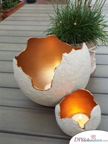 Deko-Kerzenhalter selber machen, Bastelidee mit Beton