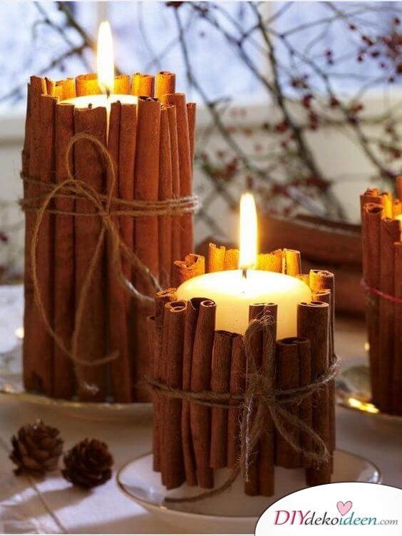 Deko-Kerzenhalter selber machen, Zimtstangen Kerzendeko