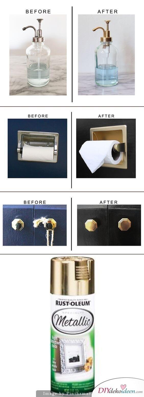 DIY Wohndeko-Ideen mit Spraydosen, Badezimmer Elemente besprühen, Dekoration selber machen